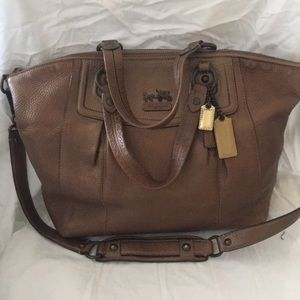 COACH BROWN -COPPER EX LARGE SHOULDER BAG & HAND